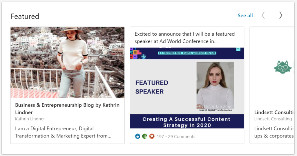 LinkedIn Featured Section